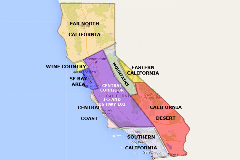 map of california north of san francisco - map of california