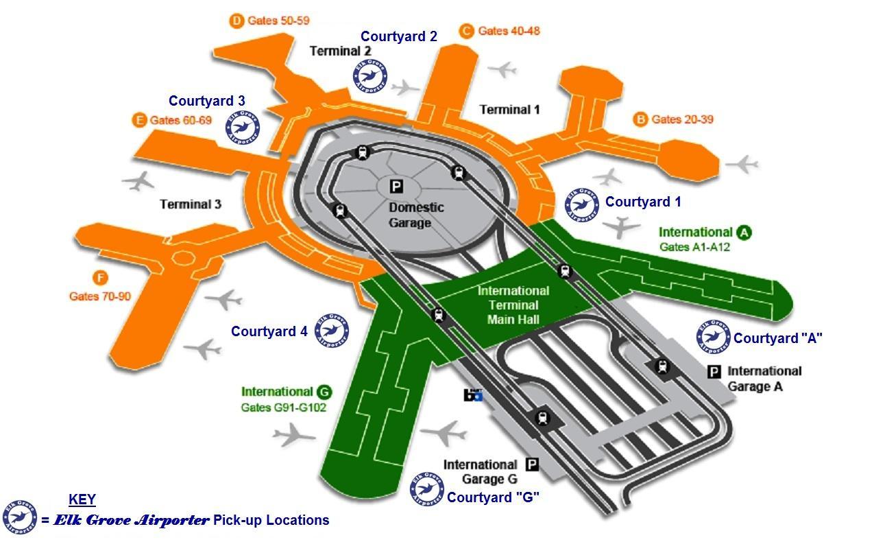 SFO airport arrivals map - SFO international terminal ...
