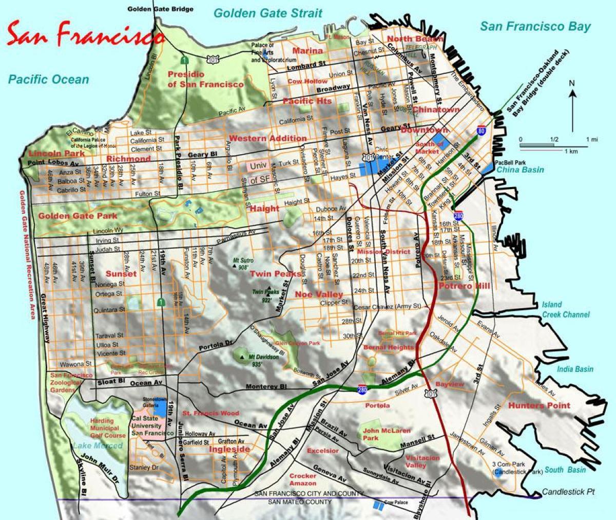 San Francisco elevation map - Ap of San Francisco elevation ...