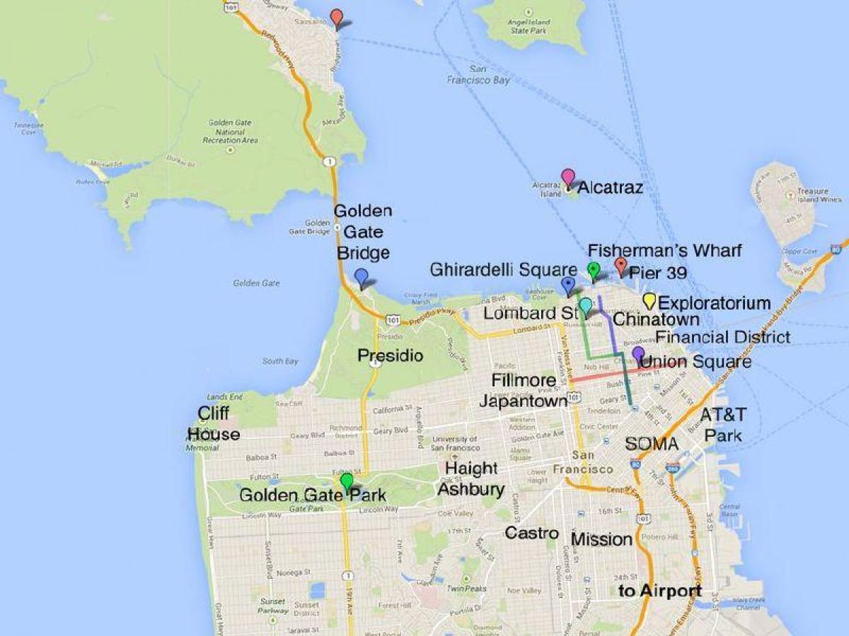 San Francisco tourism map - Tourist map of San Francisco ...