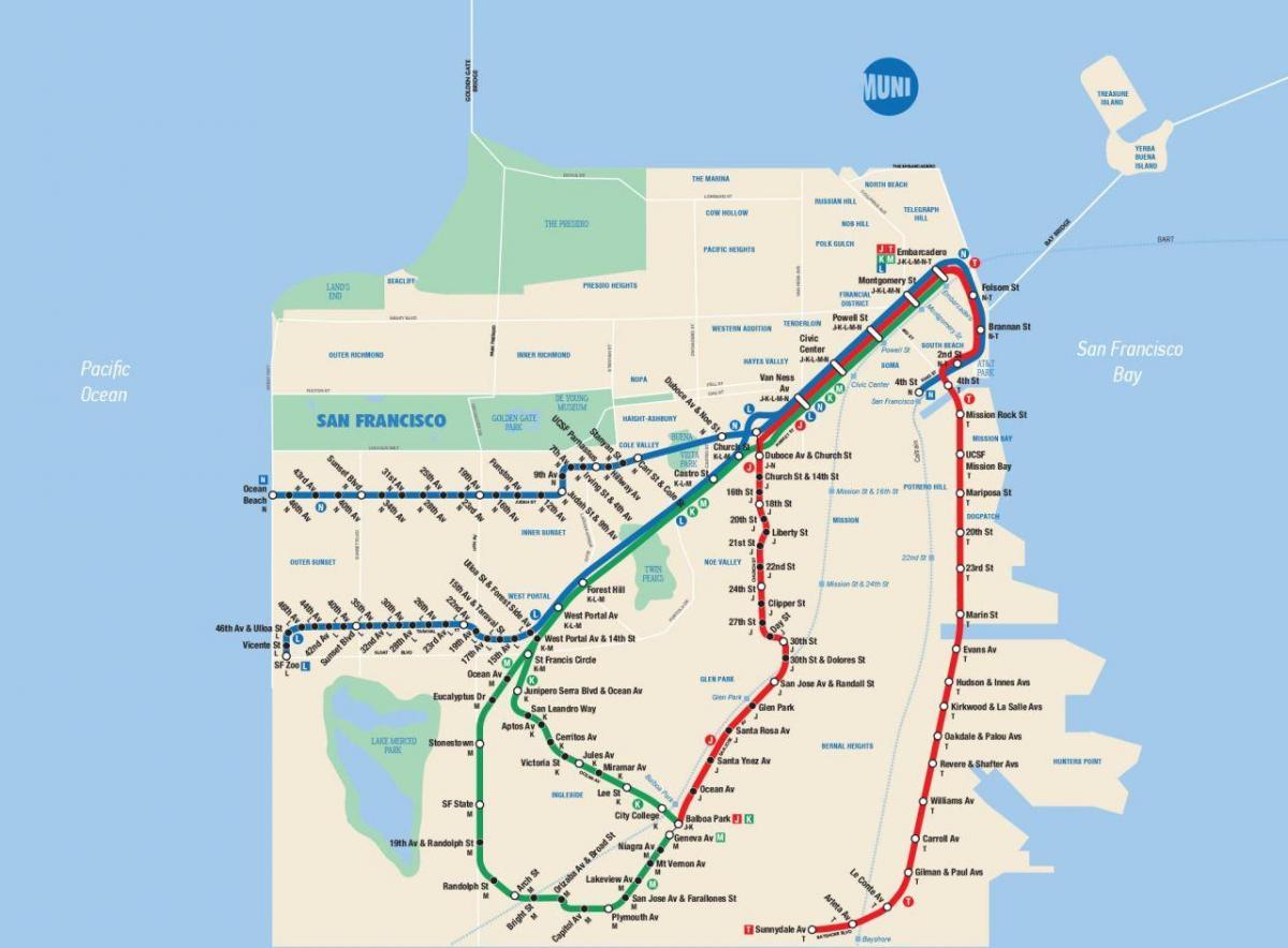 SF muni map - SFmta muni map (California - USA)