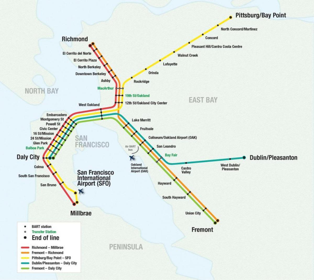 SFO airport bart map - San Francisco airport bart map ...